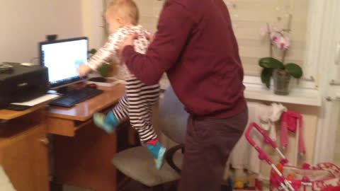 Hilarious baby running in mid-air