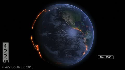 Visualization shows global earthquakes from the year 2000 - 2015