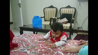 Baby Climbs Off Bed for the First Time