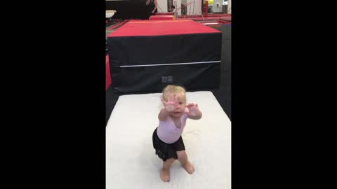"Little Gymnast ""Almost"" Sticks The Landing"