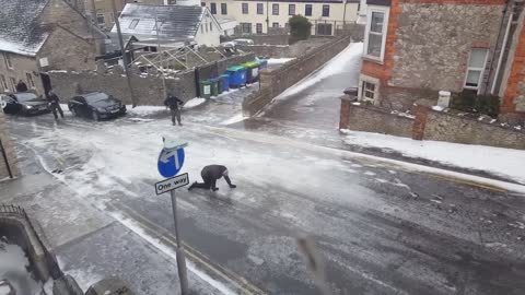 Here Is What Happens When Rain Freezes On The Street