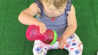 "Cute toddler ""washes"" her hair with sweet tea!"