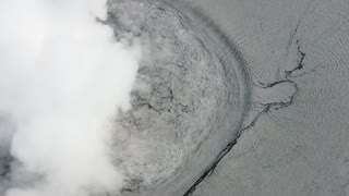 Drone Closeup of Volcanic Eruptions in Indonesia