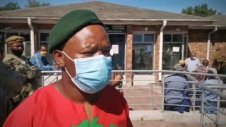 Members of the EFF outside Kuil River Megistrate