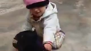 Cute baby Playing with Goat (Maymmna)  - Video