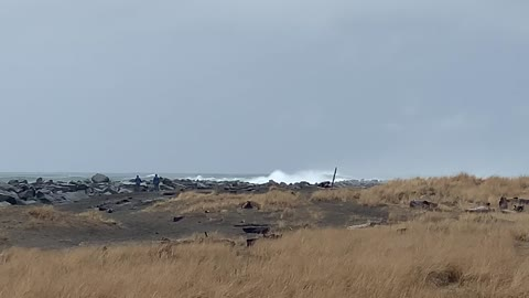 Power of the Pacific Ocean after a winter storm. N. Jetty of Grays Harbor