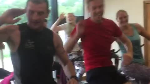 Spin class exercises to 'Baby Shark' dance craze