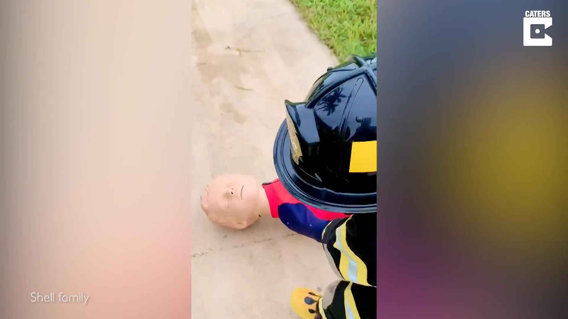 TODDLER PERFORMS MOCK FIREFIGHTER INTERVENTION AFTER BEING UPSET HE COULD NOT JOIN DAD ON A CALL
