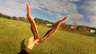 Homemade boomerang has beautiful flight - Video