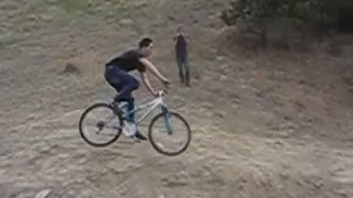 Slow motion guy bike front wheel face plant dirt fail