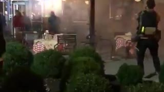 Fireworks thrown at Trump supporters from BLM Marxists