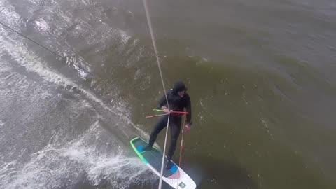 kitesurfing - trying a duck tack