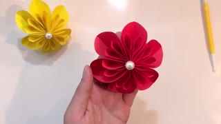 How to make a flower with paper cut & glue