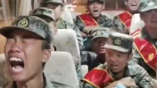 Chinese troops cry hysterically as they are being sent to the border with India