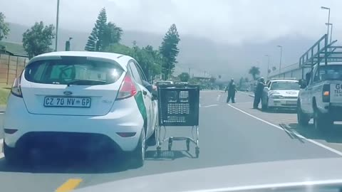 Video of motorist pulling trolley 'is old'