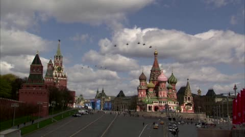 Russian military rehearses Victory Day flypast