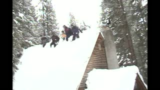 Entire Family Falls From Roof Causing Homemade Avalanche - Video