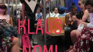 Klaus nomi g train man in black outfit sings