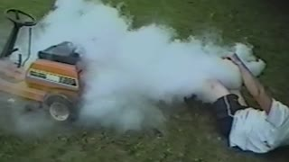 The Most Ridiculous Way To Set Your Lawnmower On Fire - Video
