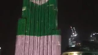 Pakistani Flag on Burj Khalifa dubai on 14th August  - Video