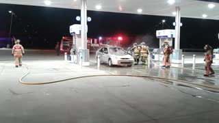 Car Fire at Gas Station - Video