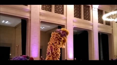 Traditional Chinese Lion Dance at Wedding blessing Performance