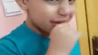 A very cute Arabic kid funny at home  - Video