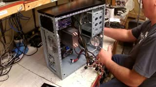 Building a gaming PC part 5 installing DVD and Hard Drive  - Video