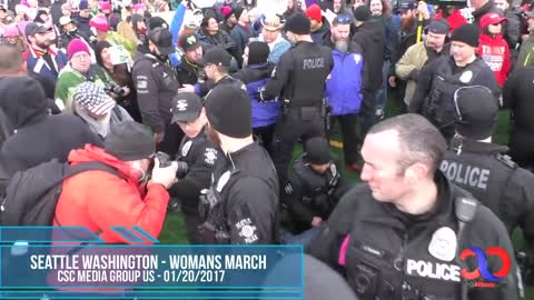 Feminist Soy Boy Gets Arrested For Assaulting Peaceful Patriots At Seattle Womans March 2018%21%21