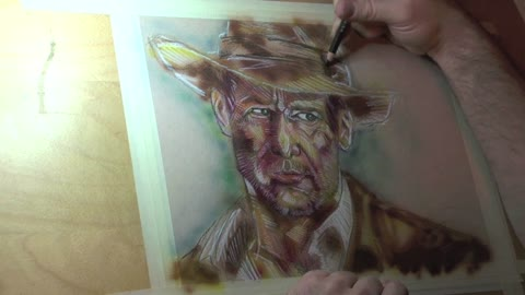 Time lapse: Incredibly detailed portrait of Harrison Ford as Indiana Jones