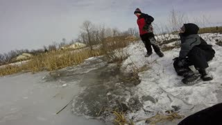 Red black ice fall through - Video