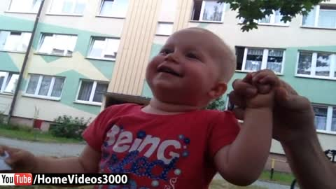 Baby laughs hysterically at neighborhood kids