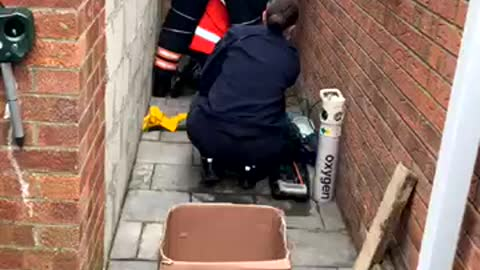 Stuck Cat Rescued by Firefighters