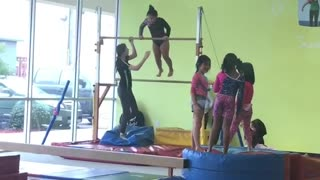 Collab copyright protection - little girl falls on gymnastics mat