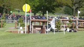 Horse and rider wipeout during trial run - Video