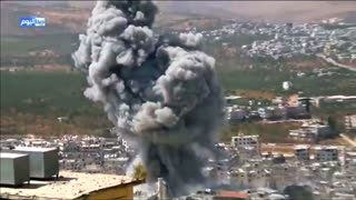 Syria's Ariha city hit by container explosion - amateur video - Video