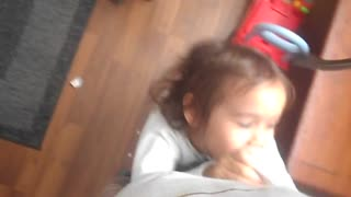 little girl suffocates her father for her toy back! - Video