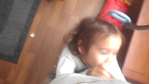 little girl suffocates her father for her toy back!
