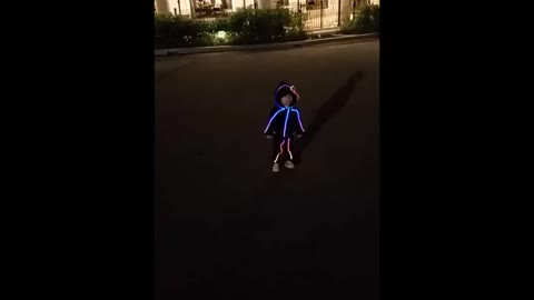 Toddler models adorable LED Halloween costume