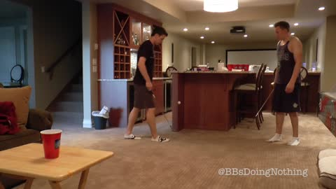 Guy Makes An Awesome Beer Pong Golf Shot