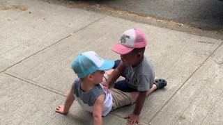 "Toddlers run to hug each other and yell, ""My friend!"""