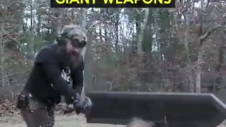 This guy makes GIANT weapons and they are epically awesome - Video