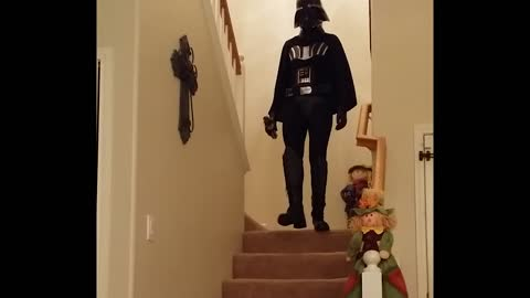 Darth vader girl falls during imperial march