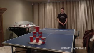 Greatest beer pong trick shot you'll ever see? - Video