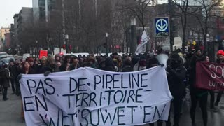 Wet'suwet'en Solidarity Protestors March Through The Streets Of Montreal
