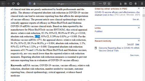 Pfizer Covid-19 Vaccine Absolute Risk Reduction is Less Than 1%
