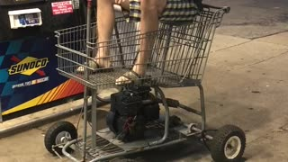 Man Saves Money On Fuel By Using A Shopping Cart Car