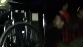 Guy red shirt on wheelchair falls downstairs  - Video