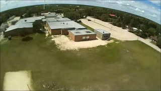 Done Flight In Empty School Yard  - Video
