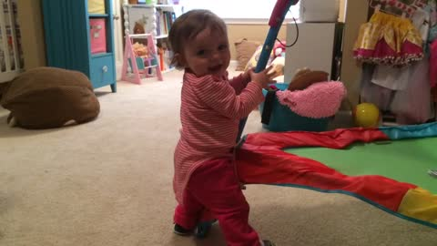 """Baby Girl Pretends To Pole Dance While Dad Mutters """"Oh no"""" To Himself"""